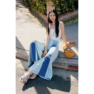 NWT Free People Flare/Wide Leg Patchwork Jeans